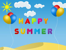 Happy summer. Word happy summer with colourful letters, balloons Royalty Free Stock Photography