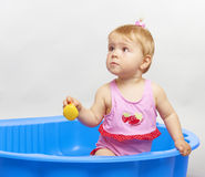 Happy summer baby playing royalty free stock photo