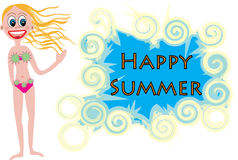 Happy summer. Blonde girl wishing you happy summer Stock Image