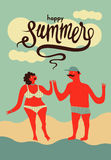 Happy summer. Calligraphic retro poster with cartoon couple. Vector illustration. Royalty Free Stock Photography
