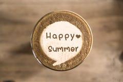 Happy summer on Coffee latte art Stock Image