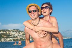 Happy Summer Couple Stock Photo