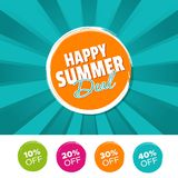Happy Summer Deal color banner and 10%, 20%, 30% & 40% Off Marks. Vector illustration. Eps10 Vector sales badge Royalty Free Stock Images
