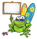 Happy summer frog with signboard. Happy summer frog with wood signboard Stock Image
