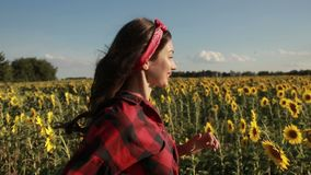 Happy summer girl laughing in sunflower field stock video