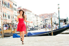Happy summer girl running in dress, Venice, Italy Royalty Free Stock Photo