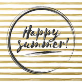 Happy summer gold glittering brush lettering composition. Phrase on gray white striped background. Royalty Free Stock Photography