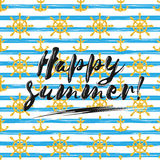 Happy summer gold glittering brush lettering composition. Phrase on gray white striped background. Stock Photography