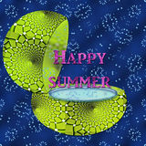 Happy Summer. A green pot with water and water splashes for a Happy Summer stock illustration