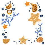 Happy summer greeting card with seashells on white background. Square frame from hand drawn sea shells and stars, corals Royalty Free Stock Images