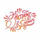Happy summer hand lettering vector Stock Photography