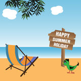 Happy summer holiday. Abstract colorful background with an extendable chair near the sea and a wooden plate with the text Happy Summer Holiday written with white Royalty Free Stock Photo