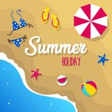 Happy summer holiday in  the beach illustration. Tropical holiday in summer illustration stock images
