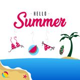 Happy summer holiday in  the beach illustration. Tropical holiday in summer illustration stock image