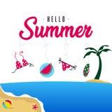 Happy summer holiday in  the beach illustration. Tropical holiday in summer illustration royalty free illustration
