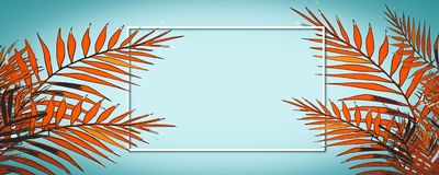 Happy summer holiday. Frame tropical background with palm trees royalty free illustration