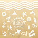 Happy summer holiday, icons for summer Stock Image