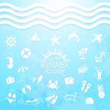Happy summer holiday sea icons Stock Photo