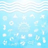 Happy summer holiday sea icons Stock Photo