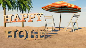 Happy summer holidays. Animated  Happy holidays made from sand. Full HD stock footage