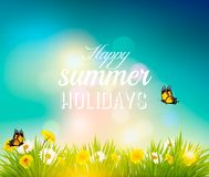 Happy summer holidays background with flowers Royalty Free Stock Photography