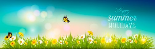 Happy summer holidays banner with flowers, grass and butterflies. Vector Royalty Free Stock Photo