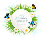 Happy summer holidays banner with grass and butterflies. Stock Photography
