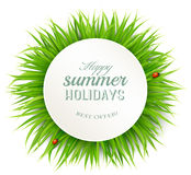 Happy summer holidays banner with grass. Royalty Free Stock Photography