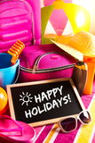 Happy summer holidays card. With bright text on blackboard Stock Photography