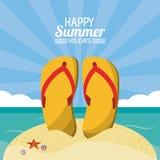 Happy summer holidays poster. flip flops beach sand ocean sunlight. Vector illustration Stock Photo