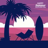 Happy summer holidays. silhouette of chair palm surfboard on sunset beach. Vector illustration stock illustration