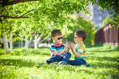 Happy summer holidays. Two happy children on a green lawn at a s. Happy summer holidays. Two children on a green lawn at a summer park. Sibling brother boys Royalty Free Stock Photo
