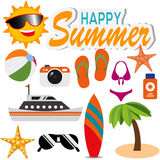 Happy Summer Icon Royalty Free Stock Photo