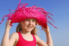 Happy summer kid with sun protection Royalty Free Stock Images