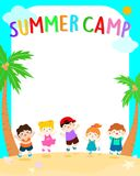 Happy summer kids camp vector poster illustration Royalty Free Stock Images