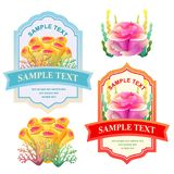 Happy summer label with colorful coral reef. Label, colorful ocean theme Royalty Free Stock Images