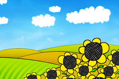 Happy summer landscape. Colored field with sunflowers illustration Royalty Free Stock Photo