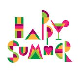Happy summer Lettering title. Lettering title `Happy summer` of funny colored geometric letters. Flat style illustration isolated  on white background Stock Photos