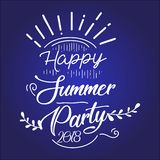 Happy Summer Party 2019. Vector multicolored logo on dark blue background. Sun and handwritten inscription. vector illustration