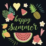 Happy summer Poster with watermelon, monstera tropical leaves pineapple fruits on black. Happy summer poster with watermelon monstera tropical leaves pineapple stock illustration