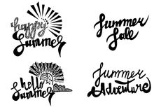 Happy summer, summer sale, hello summer, summer adventure vector text pack. Summer decorative handwritten lettering pack text vector art.  Set include Happy Royalty Free Stock Photography