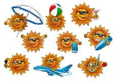 Happy summer sun cartoon mascot set Royalty Free Stock Image