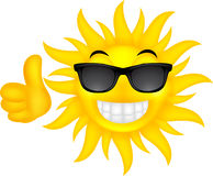 Happy summer sun with glasses. Illustration of happy summer sun with glasses Royalty Free Stock Photos