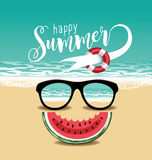 Happy summer sunglasses and watermelon design. Royalty Free Stock Photos