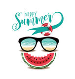 Happy summer sunglasses and watermelon design. Royalty Free Stock Image