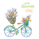 Happy summer time card with bicycle and flowers Stock Images