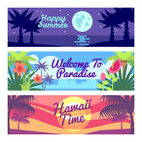 Happy summer travel time hawaii vector advertising banners set with tropical plants and flowers vector illustration