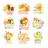 Happy Summer Vacation Sunny Colorful Graphic Design Template Logo Series, Hand Drawn Vector Stencils Stock Images