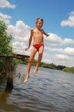 Happy Summer Water Fun Jump Stock Photos