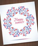 Happy Summer watercolor floral wreath with flower Stock Photography